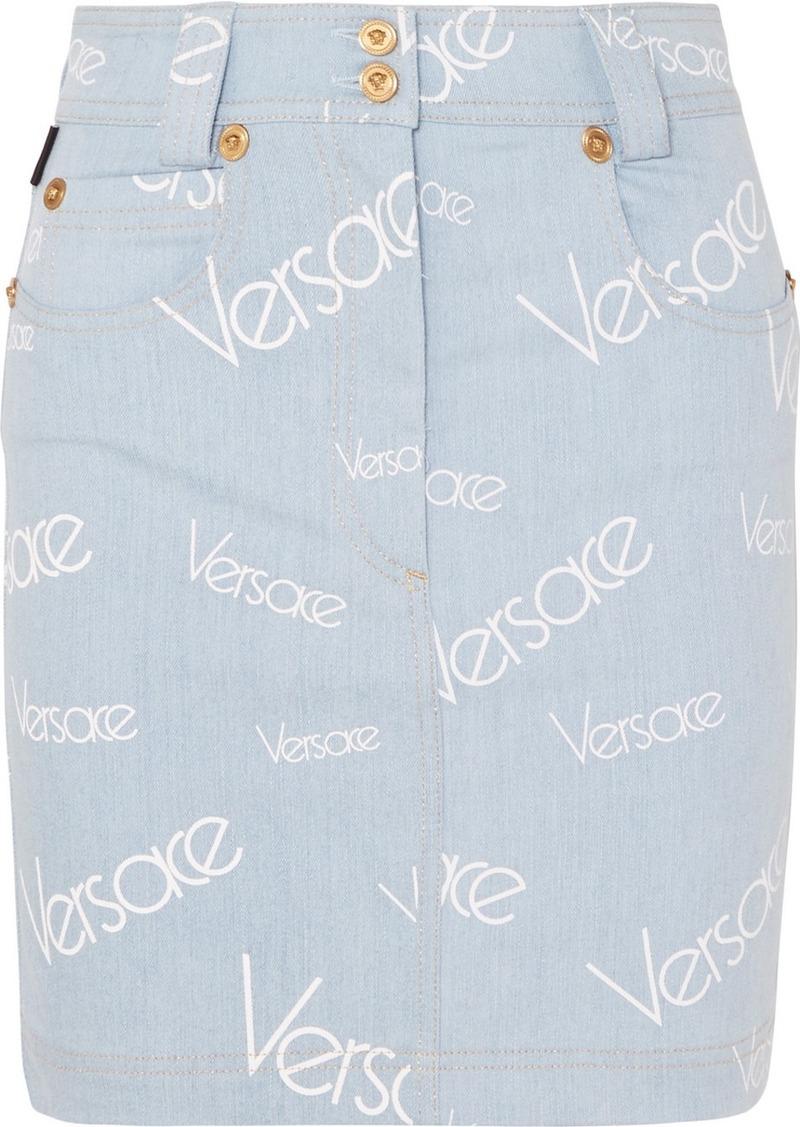 Versace Printed Denim Mini Skirt