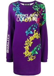 Versace printed logo sweater dress