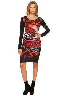 Versace Printed Long Sleeve Scoop Neck Dress