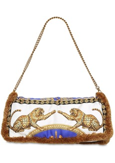 Versace Printed Silk Pillow Bag W/ Fringe