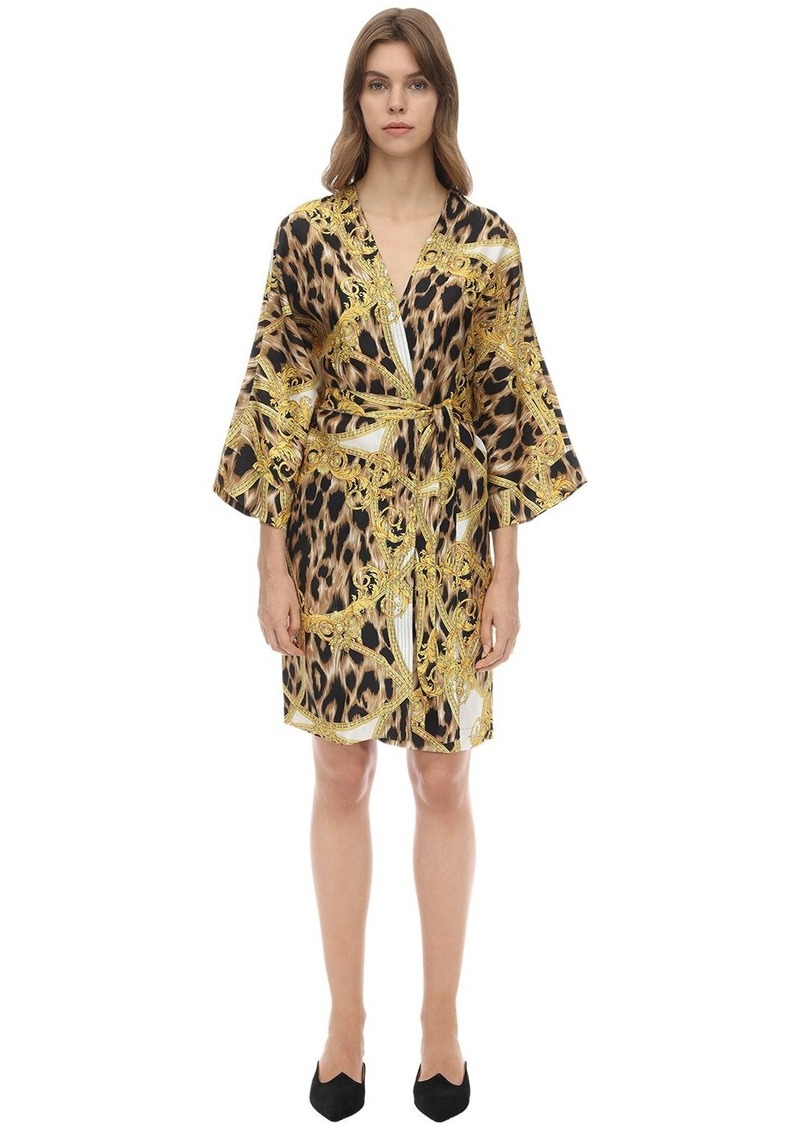 Versace Printed Silk Satin Night Gown