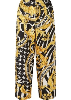 Versace Printed Silk-twill Straight-leg Pants
