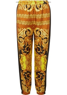 Versace Printed Silk-twill Tapered Track Pants