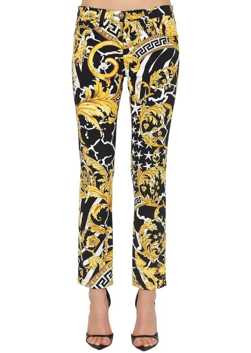Versace Printed Skinny Cotton Denim Jeans