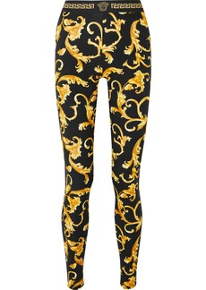 Versace Printed Stretch-cotton Jersey Leggings