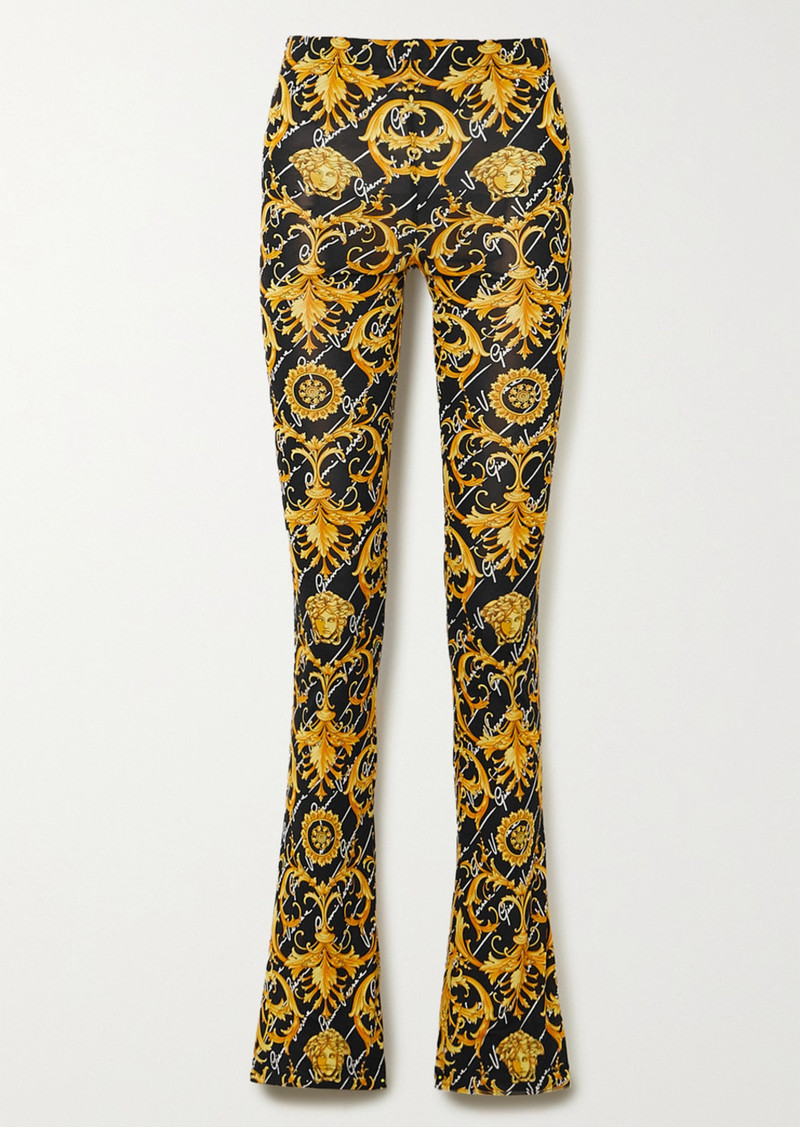 Versace Printed Stretch-jersey Flared Pants