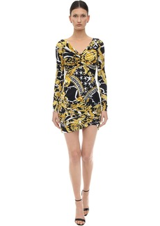Versace Printed Stretch Jersey Mini Dress