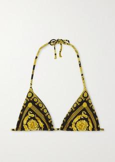 Versace Printed Triangle Halterneck Bikini Top