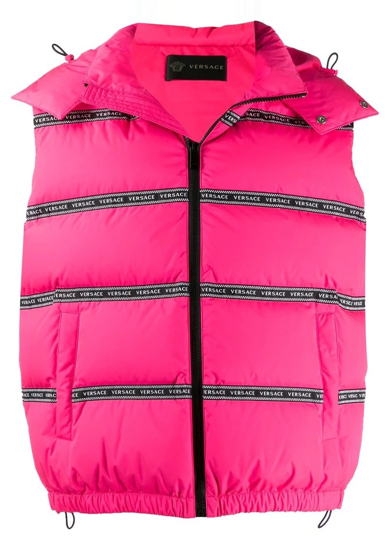 Versace puffer logo tape gilet jacket