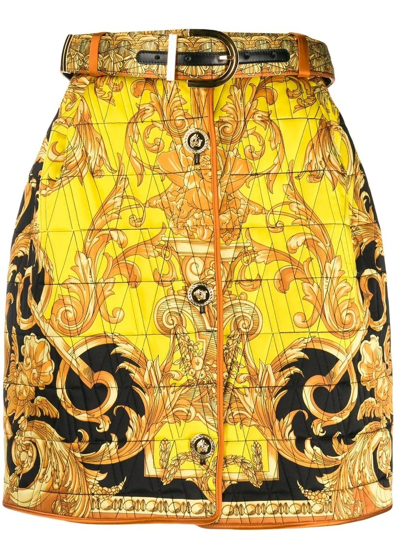 Versace quilted Baroque print mini skirt