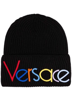 Versace rainbow logo-embroidered beanie hat