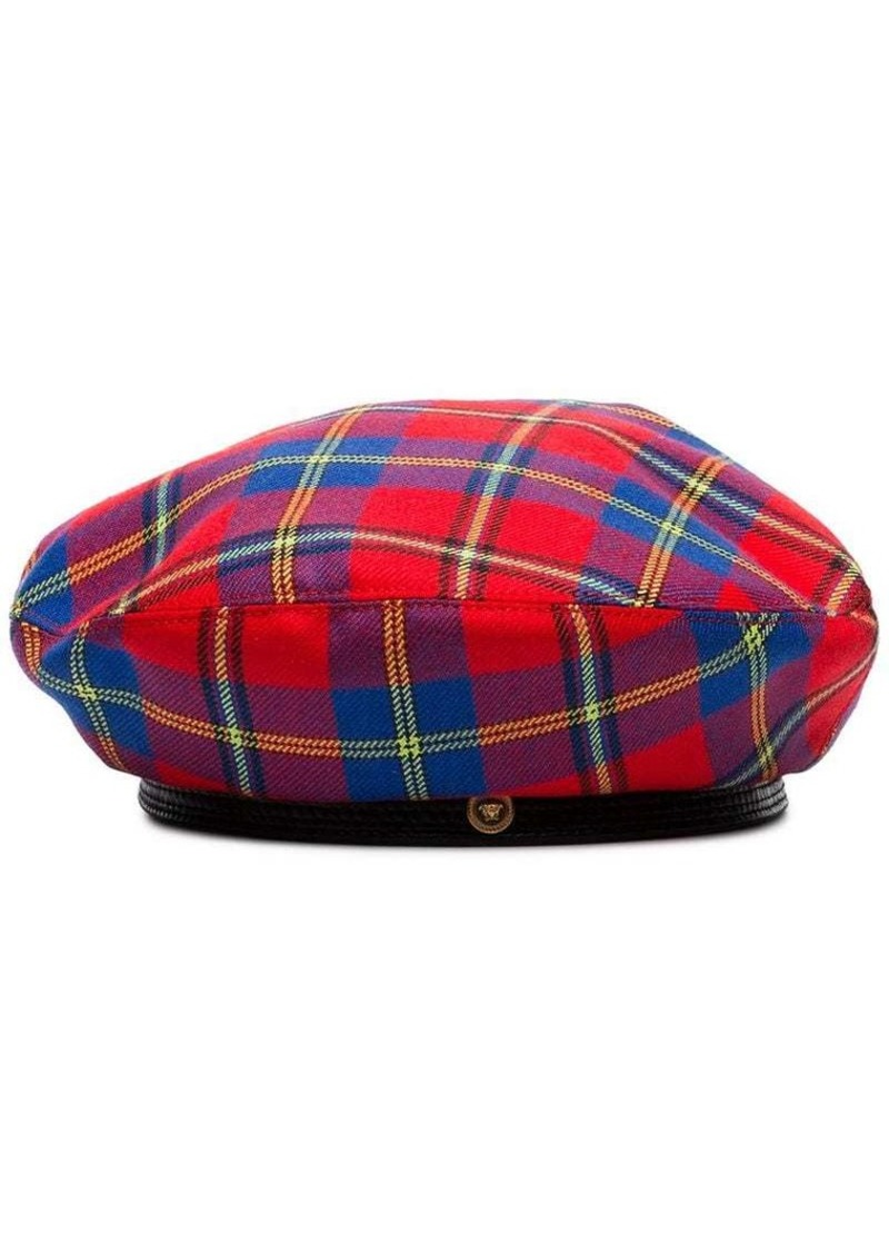 Versace red and blue check wool hat