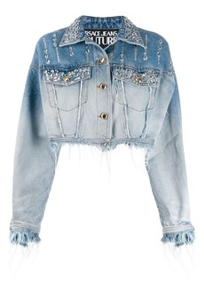 Versace rhinestone-embellished denim jacket