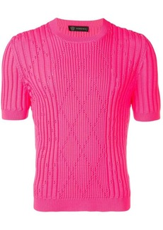 Versace ribbed short sleeve sweater