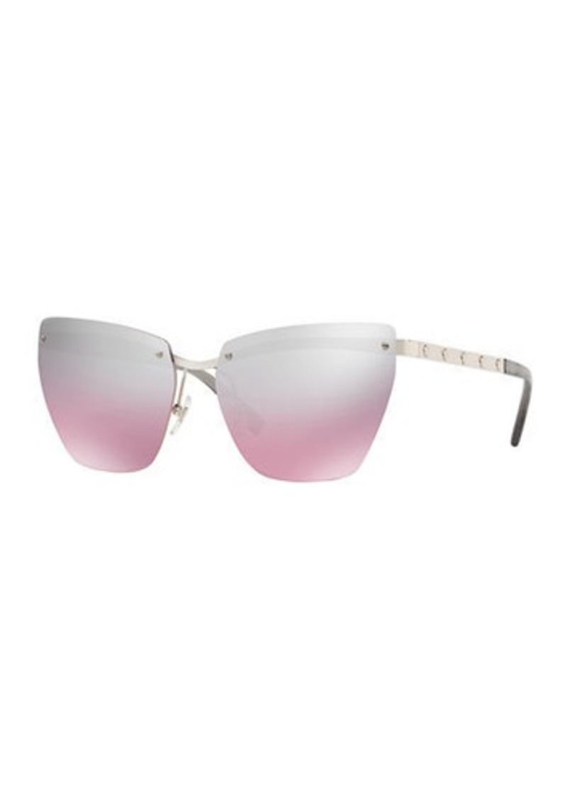 ac1054a217 Versace Rimless Medusa-Arm Metal Sunglasses