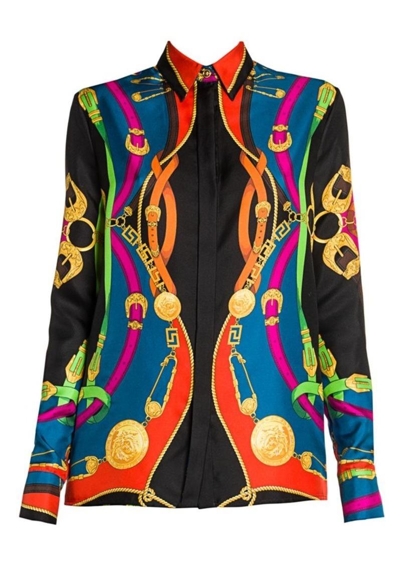 Versace Rodeo Night Silk Twill Blouse