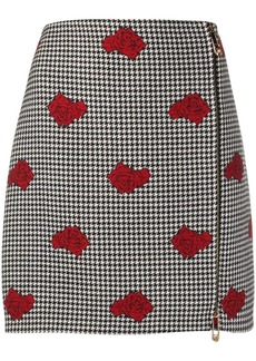 Versace rose-embroidered houndstooth wool skirt