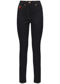 Versace Roses Embroidered Cotton Denim Jeans