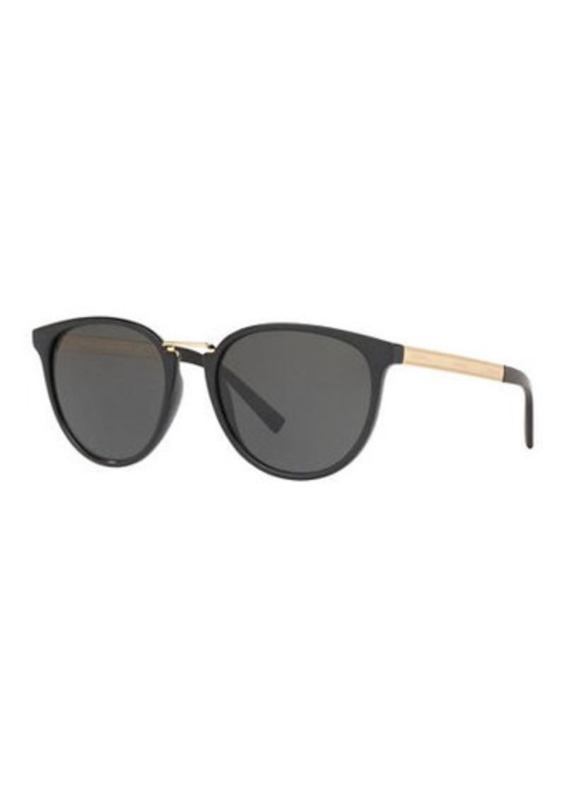 Versace Round Gradient Sunglasses w/ Logo Arms