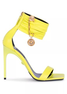 Versace Safety Pin Ankle-Cuff Leather Sandals