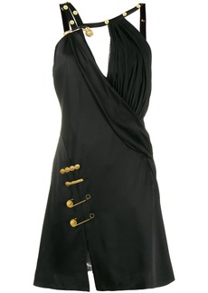 Versace safety pin embellished mini dress