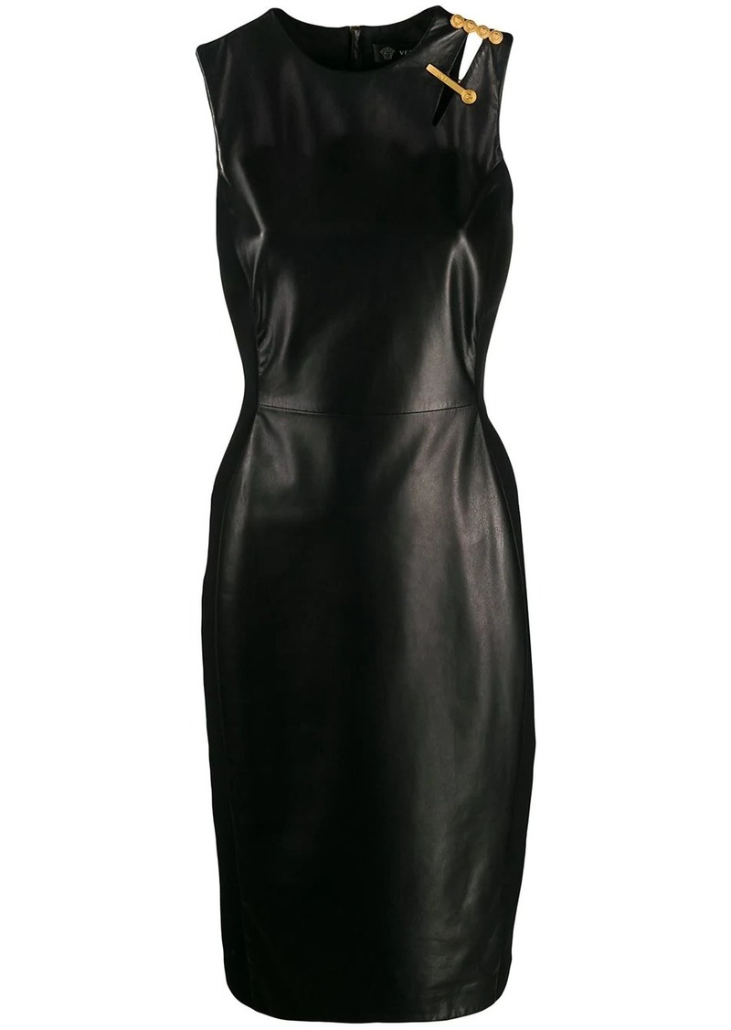 Versace safety pin fitted sleeveless dress