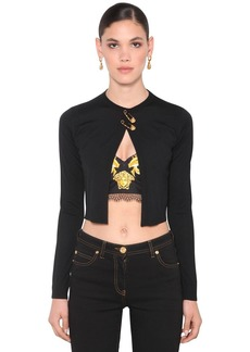 Versace Safety Pin Knit Wool Cropped Cardigan