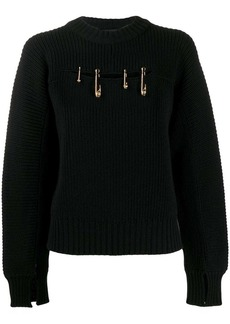 Versace safety pin rib jumper
