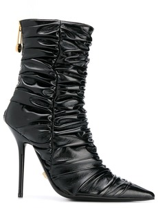 Versace safety pin ruched ankle boots