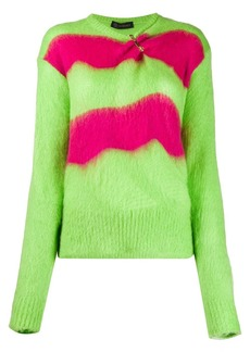 Versace safety-pin striped knitted sweater