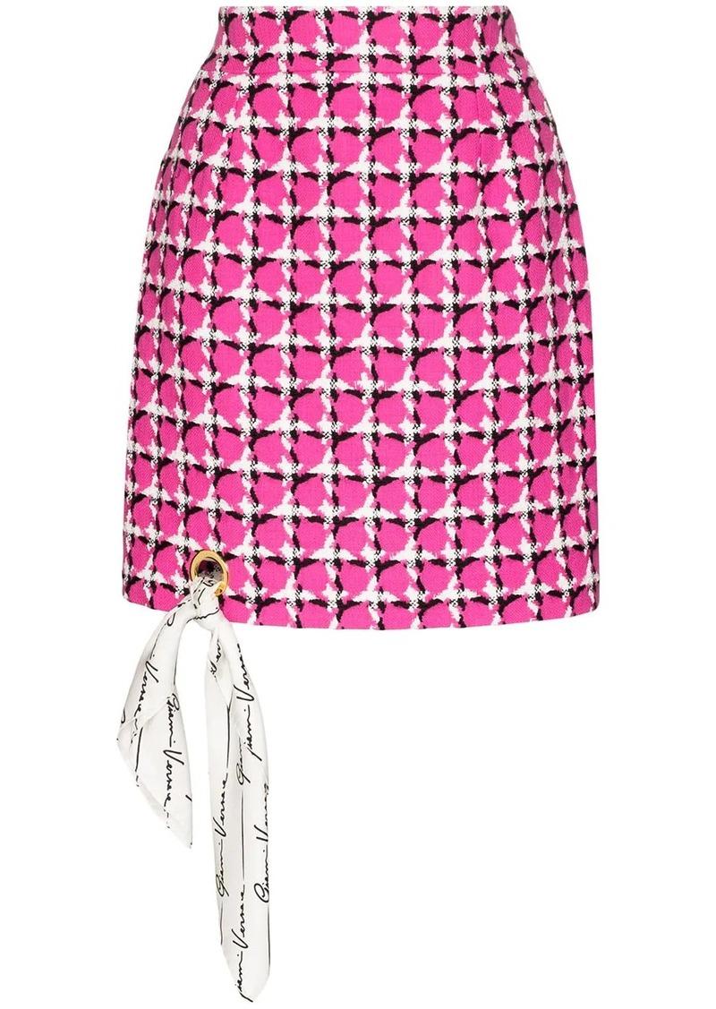 Versace scarf-detailed houndstooth silk mini skirt