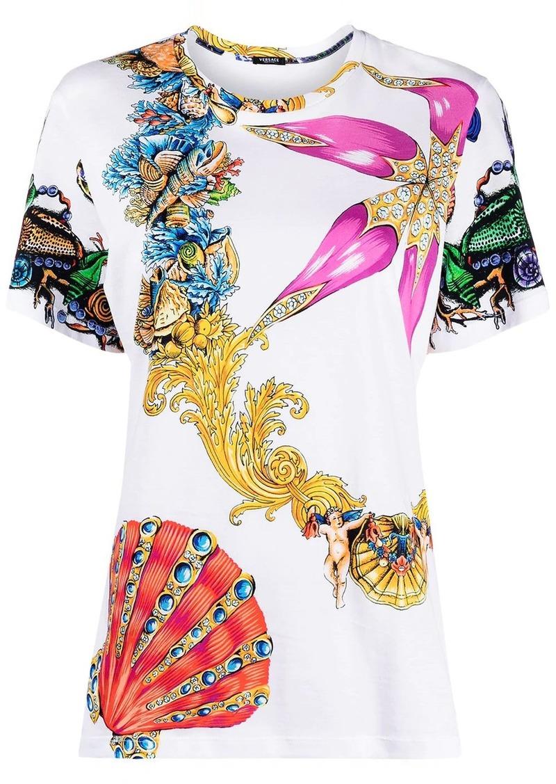 shell-print T-shirt