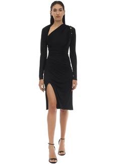 Versace Shiny Viscose Jersey Midi Dress W/pins