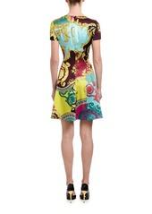 Versace Short-Sleeve Multicolored Dress