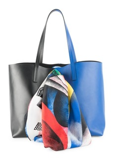 Versace Silk Scarf Colorblock Leather Tote