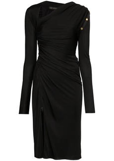 Versace slash-neck asymmetric midi dress