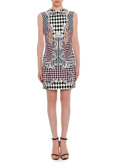 Versace Sleeveless Damask-Print Fitted Dress