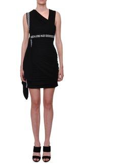 Versace Sleeveless Logo-Waistband Viscose Mini Dress