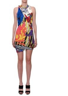 Versace Sleeveless Multi-Print Viscose Mini Dress w/ Asymmetric-Hem