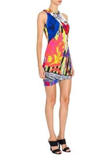 Versace Sleeveless Printed Jersey Mini Dress