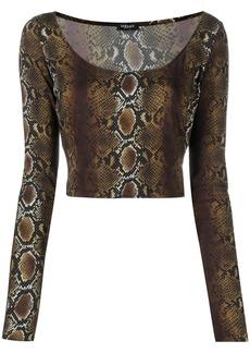 Versace snakeskin-print cropped top