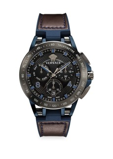 Versace Sport Tech Stainless Steel, Leather & Rubber Strap Watch