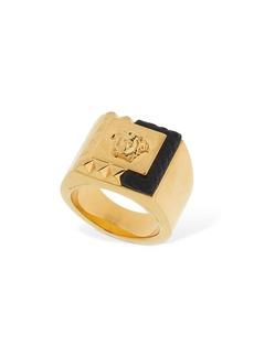 Versace Square Enameled Medusa Ring