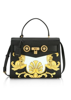 Versace St. Barocco Print Pebbled-Leather Shoulder Bag