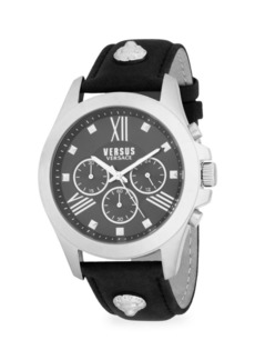 Versace Stainless Steel & Leather-Strap Chronograph Watch