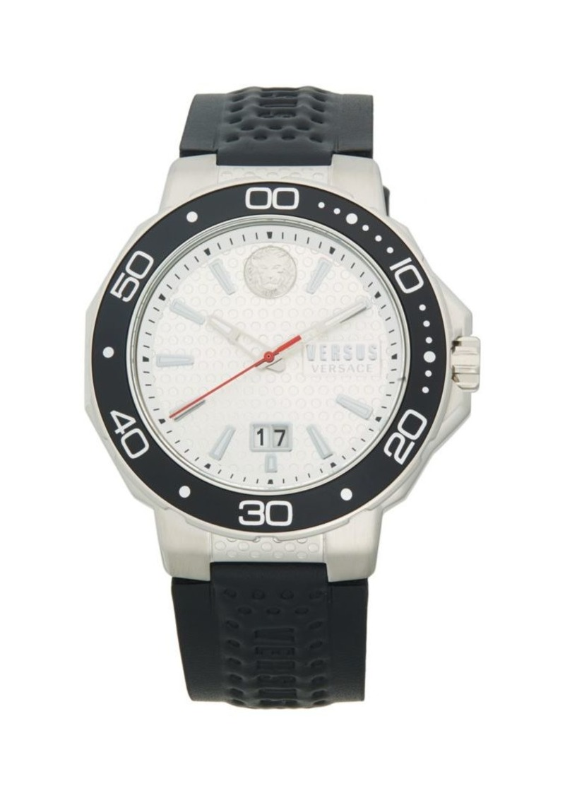 Versace Stainless Steel & Leather-Strap Watch