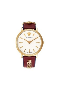 Versace Stainless Steel & Leather Strap Watch
