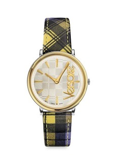 Versace Stainless Steel & Plaid Leather-Strap Watch