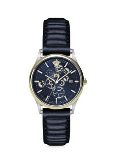 Versace Stainless Steel & Textured Leather-Strap Watch