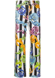 Versace straight leg baroque print trousers